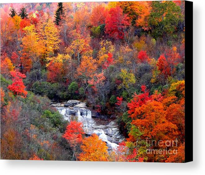Blue Ridge Parkway Canvas Print featuring the photograph Blue Ridge Parkway Waterfall In Autumn by Crystal Joy Photography