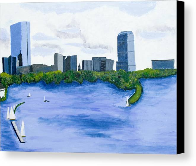 Landscape Canvas Print featuring the painting Boston Skyline by Carmela Cattuti