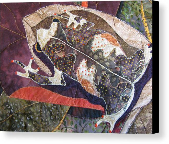 Tapestries Textiles Canvas Print featuring the tapestry - textile Brown Forest Toad by Lynda K Boardman