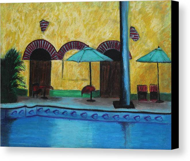 Hotel Canvas Print featuring the painting By The Poolside by Jeanne Fischer