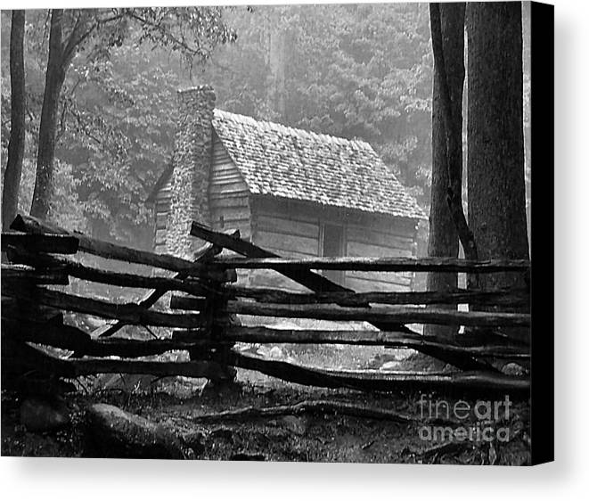 Log Cabins Canvas Print featuring the photograph Cabin In The Fog by Julie Dant