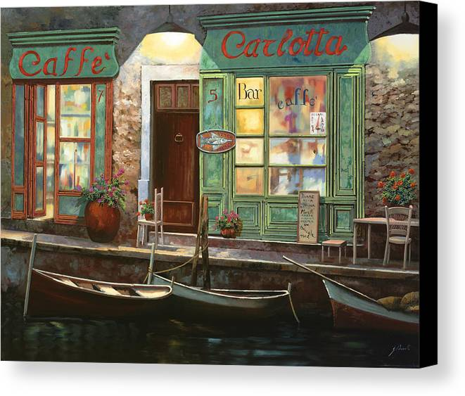 Venice Canvas Print featuring the painting caffe Carlotta by Guido Borelli