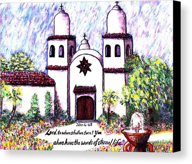 Carmel Canvas Print featuring the painting Carmel Mission by Catherine Saldana