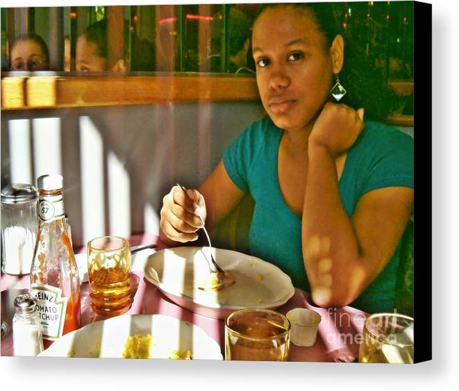 Catherine At The Diner Canvas Print featuring the photograph Catherine At The Diner by Sarah Loft