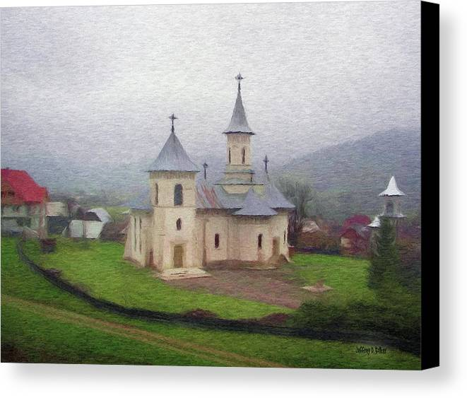 Chapel Canvas Print featuring the painting Church In The Mist by Jeffrey Kolker