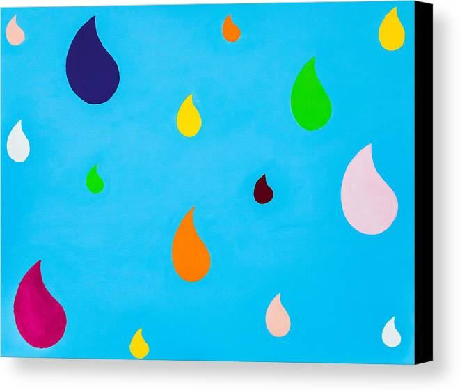 Childrens Canvas Print Canvas Print featuring the painting Colourful Rain- Part 2 Raindrops by Sunny Luy