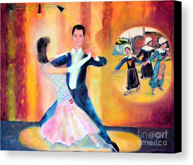 Dance Canvas Print featuring the painting Dancing Through Time by Karen Francis