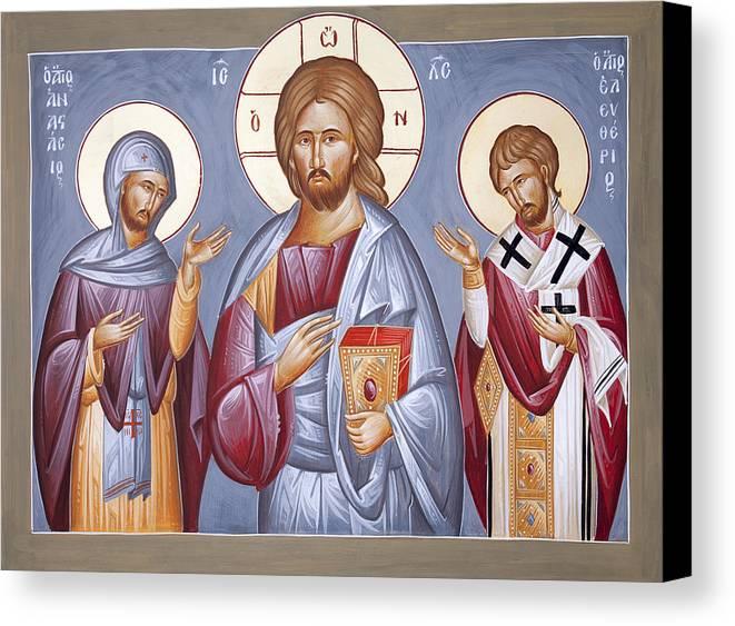 Deisis Canvas Print featuring the painting Deisis Jesus Christ St Anastasios And St Eleftherios by Julia Bridget Hayes