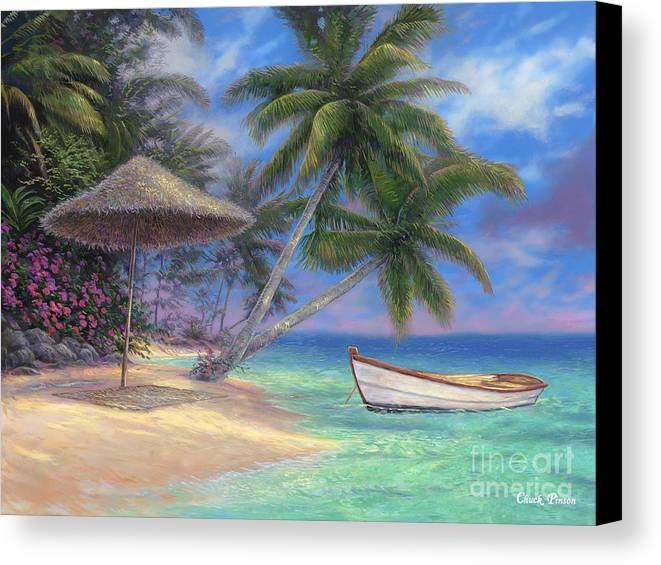 Tropical Canvas Print featuring the painting Drift Away by Chuck Pinson