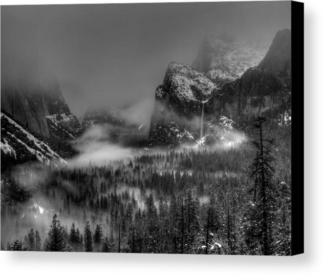 Black And White Canvas Print featuring the photograph Enchanted Valley In Black And White by Bill Gallagher
