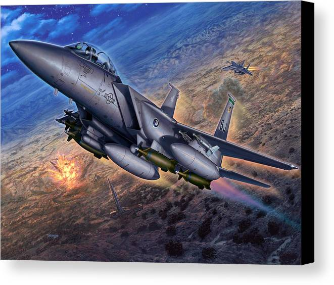 F-15 Canvas Print featuring the digital art F-15e Strike Eagle Scud Busting by Stu Shepherd