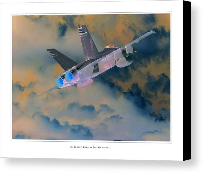 F-18 Hornet Framed Prints Canvas Print featuring the photograph Fa-18d Hornet by Larry McManus