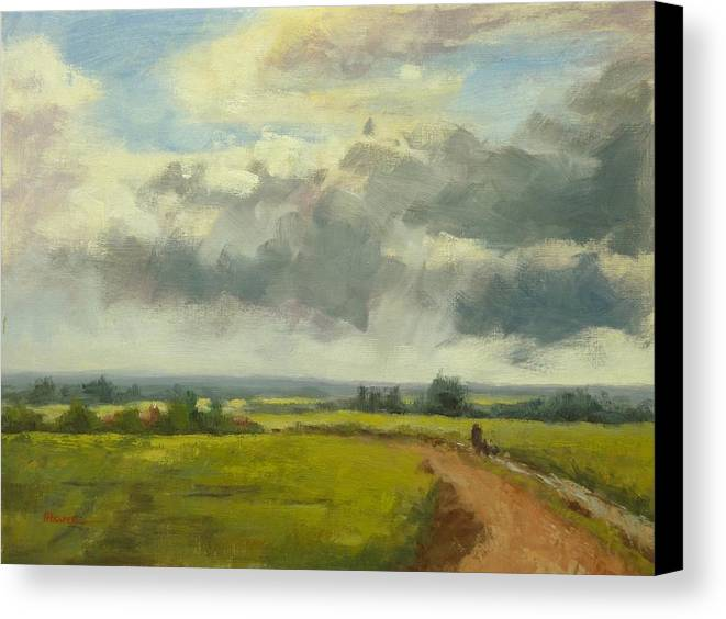 Country Canvas Print featuring the painting Farm Track Kent by Fiona Hooper