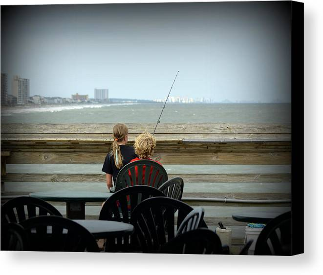 Fishing Canvas Print featuring the photograph Fishing Buddies by Kathy Barney