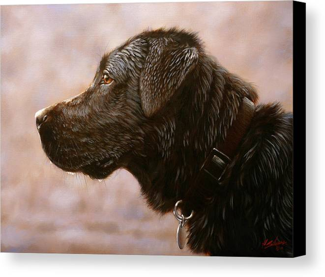 Lab Canvas Print featuring the painting Fixed Gaze by John Silver