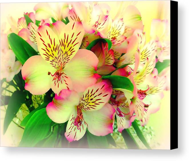 Flower bouquet in pink and yellow canvas print canvas art by flowers canvas print featuring the photograph flower bouquet in pink and yellow by bishopston fine art mightylinksfo