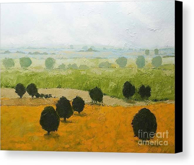 Landscape Canvas Print featuring the painting Fog Lifting Fast by Allan P Friedlander
