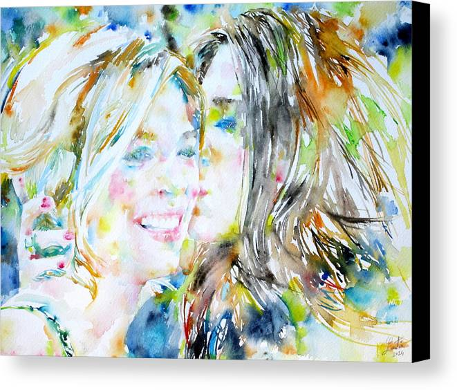 Girl Canvas Print featuring the painting Friends by Fabrizio Cassetta