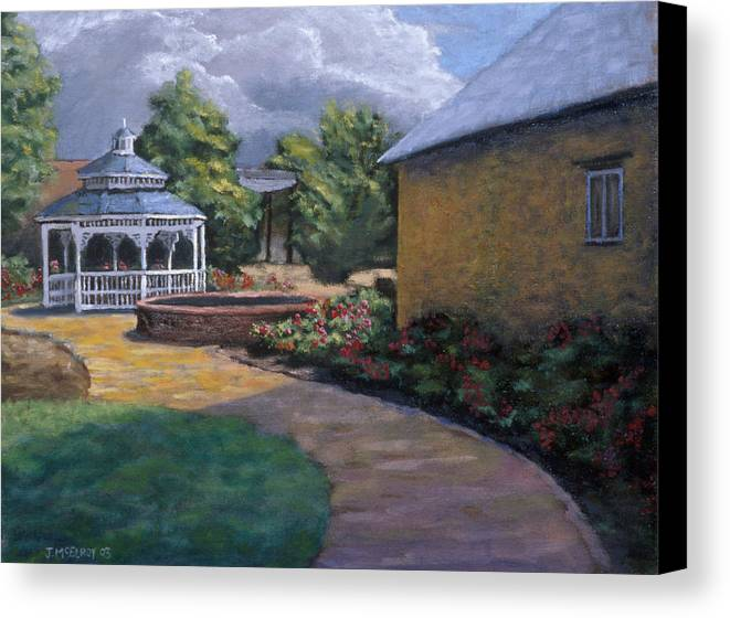 Potter Canvas Print featuring the painting Gazebo In Potter Nebraska by Jerry McElroy