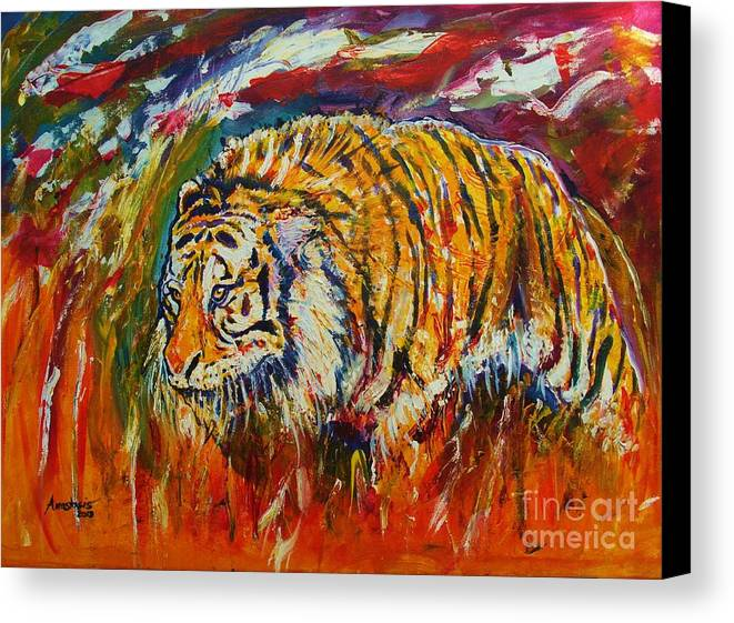 Tiger Canvas Print featuring the painting Go Get Them Tiger by Anastasis Anastasi