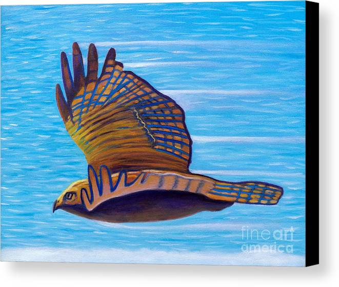 Hawk Canvas Print featuring the painting Hawk Speed by Brian Commerford