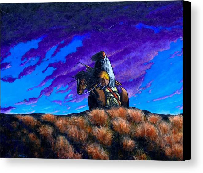American Indian Canvas Print featuring the painting In Search Of The Vanished by Joe Triano