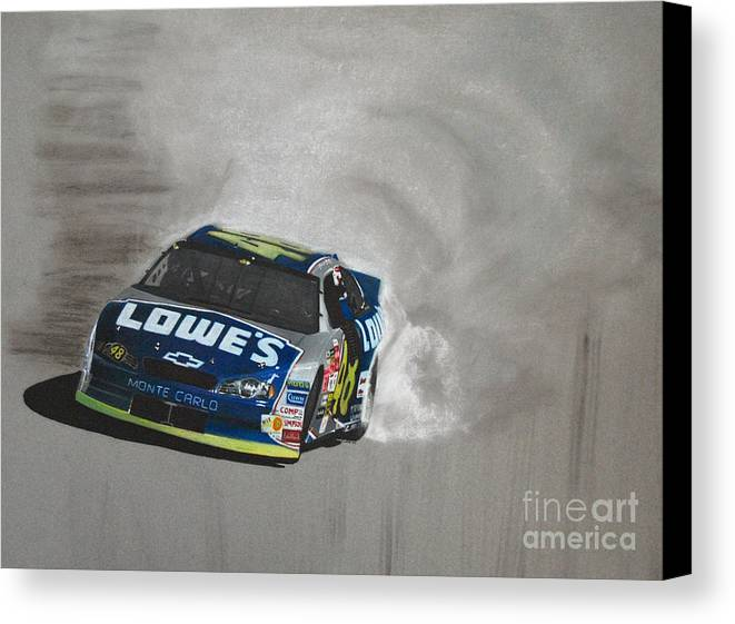 Car Canvas Print featuring the drawing Jimmie Johnson-victory Burnout by Paul Kuras