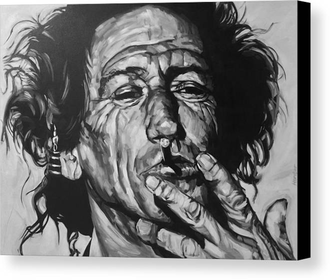 Keith Richards Guitarist Musician Rolling Stones Mick Jagger Black And White Canvas Portrait 60's Canvas Print featuring the drawing Keith Richards by Steve Hunter