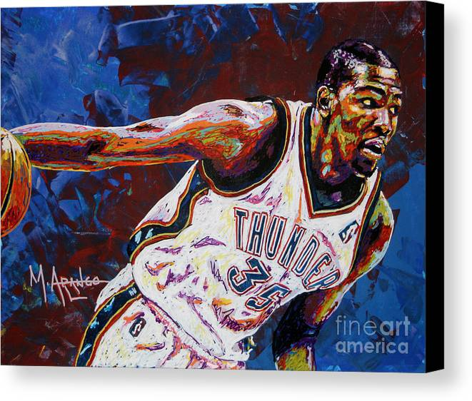 Kevin Canvas Print featuring the painting Kevin Durant by Maria Arango
