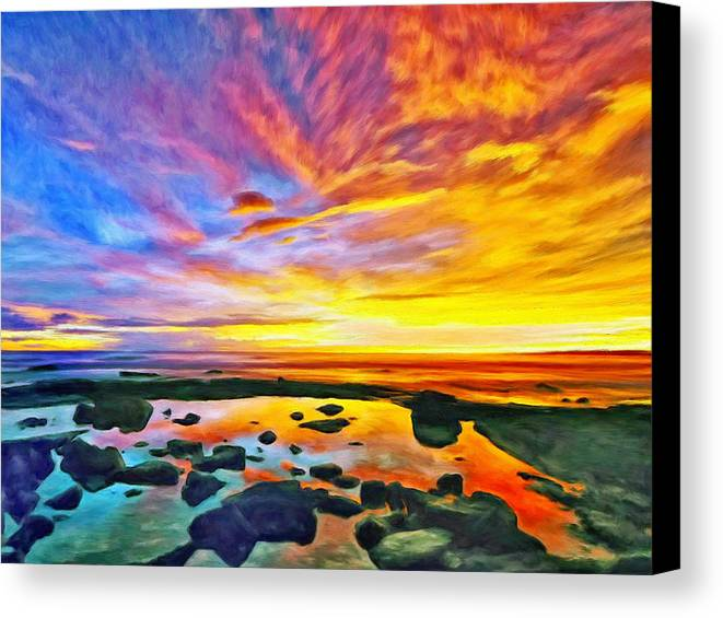 Tidepool Canvas Print featuring the painting Kona Tidepool Reflections by Dominic Piperata
