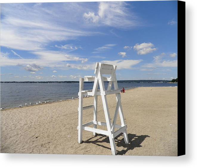 Narragansett Bay Canvas Print Featuring The Photograph Lifeguard Chair By  Kate Gallagher