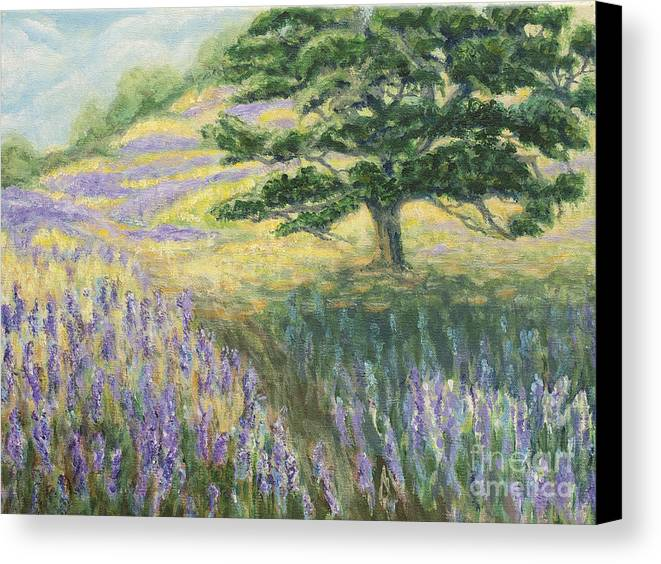 Lupines Canvas Print featuring the painting Lupines In May by Jeanne Wrede