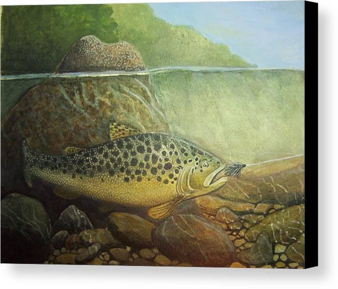 Rick Huotari Canvas Print featuring the painting Lurking by Rick Huotari