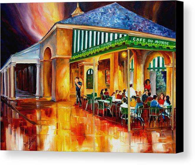 New Orleans Paintings Canvas Print featuring the painting Midnight At The Cafe Du Monde by Diane Millsap
