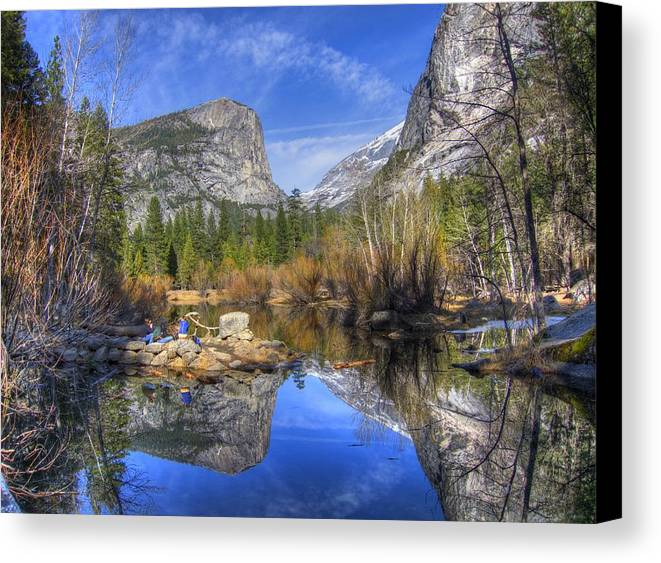 Landscape Canvas Print featuring the photograph Mirror Lake Yosemite Autumn by Eric Mui