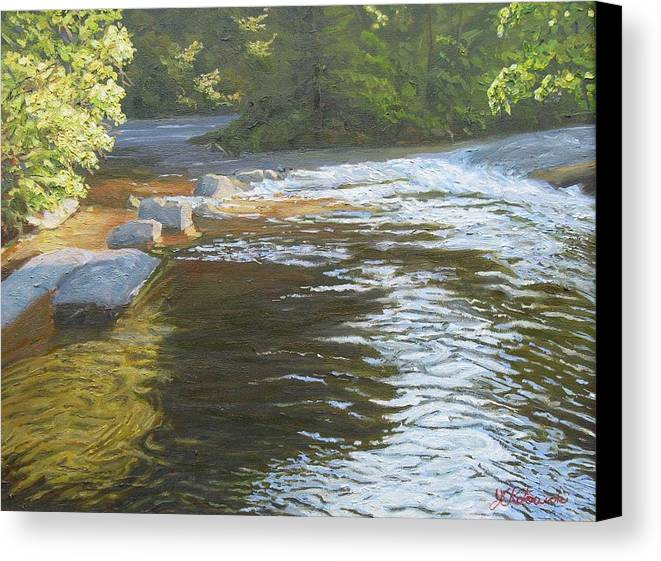 Stream Canvas Print featuring the painting Morning On The Little River by Joseph Kotowski