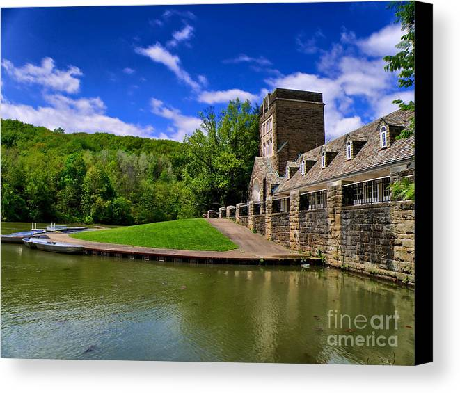 Allegeheny County Canvas Print featuring the photograph North Park Boathouse In Hdr by Amy Cicconi
