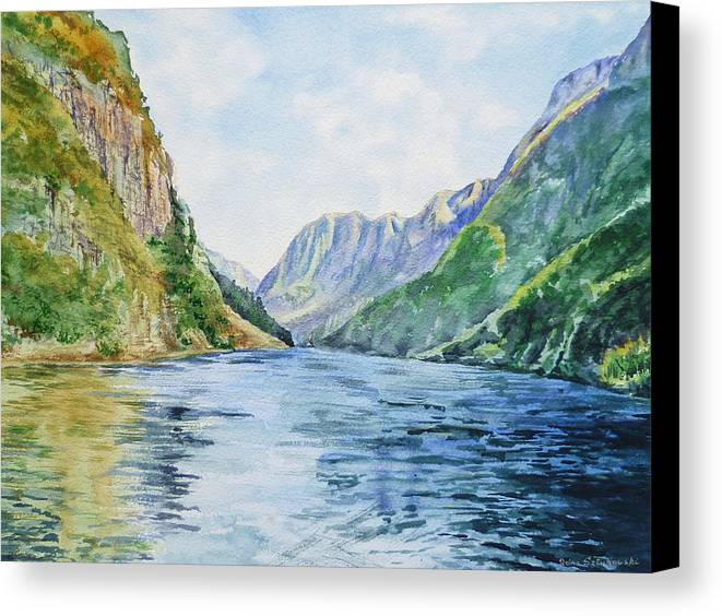 Norway Canvas Print featuring the painting Norway Fjord by Irina Sztukowski