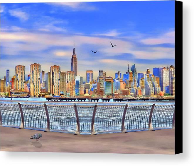 Nyc Canvas Print featuring the digital art Nyc Skyline by Nina Bradica
