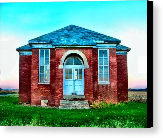 Schools Canvas Print featuring the photograph Old Schoolhouse by Julie Dant