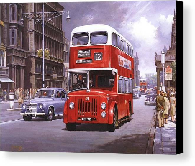 Edingburgh Canvas Print featuring the painting On The Golden Mile by Mike Jeffries