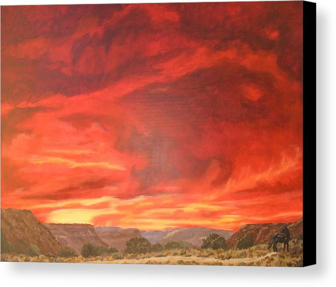 Western Canvas Print featuring the painting One Last Look by Janis Mock-Jones