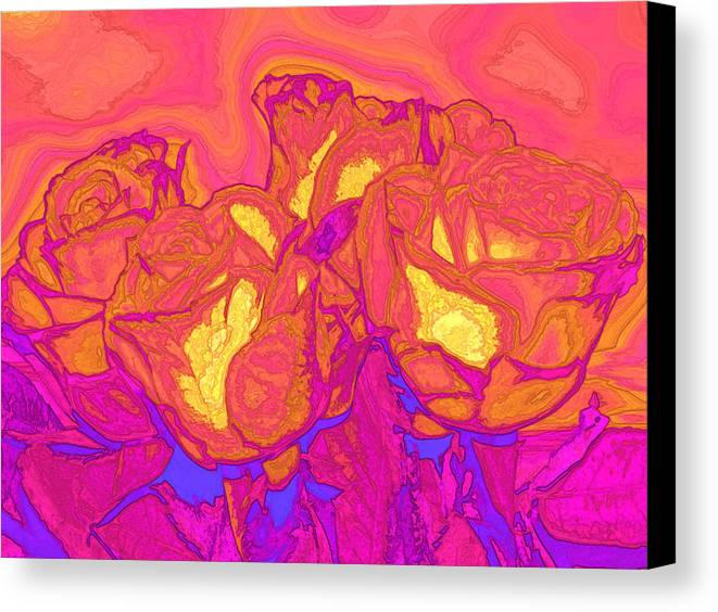 Abstract Canvas Print featuring the digital art Passion's Petals by Wendy J St Christopher