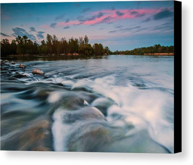 Landscapes Canvas Print featuring the photograph Peaceful Evening by Davorin Mance