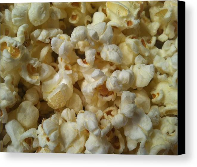 Popcorn Canvas Print featuring the pyrography Popcorn by Marcia B