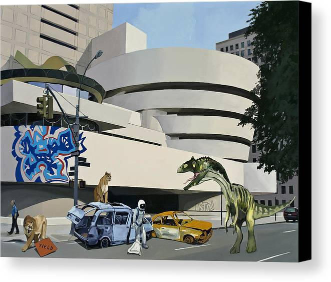 Astronaut Canvas Print featuring the painting Post Nuclear Guggenheim Visit by Scott Listfield