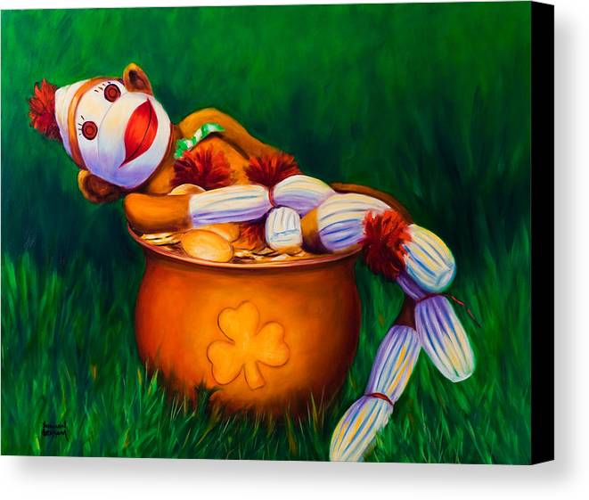 St. Patrick's Day Canvas Print featuring the painting Pot O Gold by Shannon Grissom