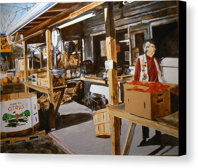 Rural Life Canvas Print featuring the painting Produce Market by Thomas Akers