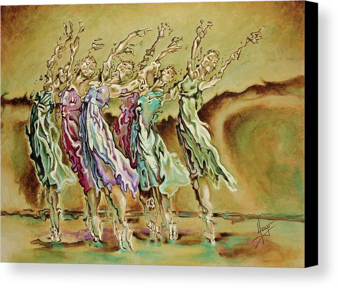 Ballet Canvas Print featuring the painting Reach Beyond Limits by Karina Llergo