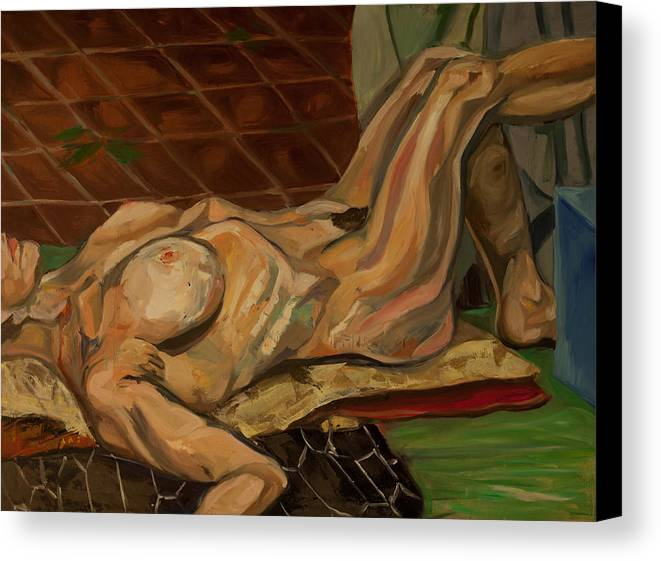 Nude Canvas Print featuring the painting Reclining Nude by Christa Brunks